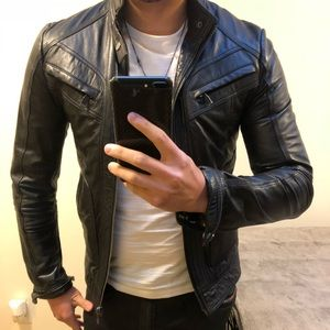Zara Real Leather Jacket S slim fit